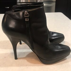 Via Spiga black leather high-heeled booties